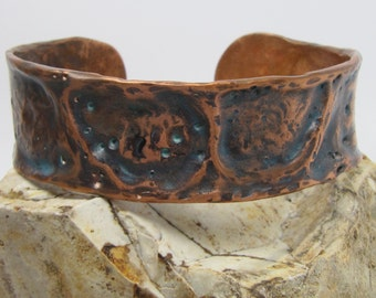 Air chased copper cuff - patina