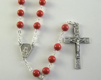 Red Immaculate Heart Rosary with Swarovski Pearls (118)