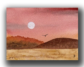 Moonrise - Original watercolor painting ACEO matted and framed bookcase or wall art
