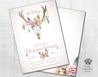 Oh Baby! Boho Baby Shower/ wedding shower/ birthday Invite DIY Printable