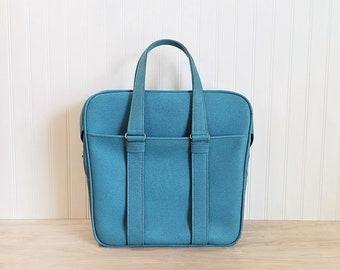 Vintage Blue Samsonite Tote Bag Samsonite Silhouette Aqua Blue Carry On Blue Tote Blue Luggage Brides Luggage Turquoise Tote Blue Train Case