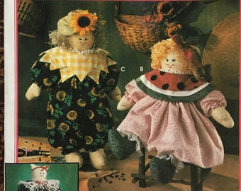 Simplicity 8899 Craft Pattern by Faith Van Zanten Stuffed Doll, Cat and clothing Published 1994 NEW Uncut sewing pattern