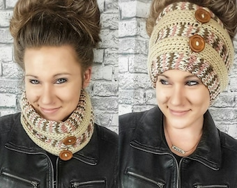 Messy Bun Beanie | Messy Bun Headband | 2 in 1 Accessory for Women | Knitted Cowl and Headband in One | Made to Order | Gift for Her