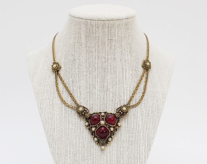 Vintage 1940s Art Deco Red and Gold Bib Necklace
