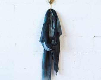 Printed Wool Scarf - Black Ink