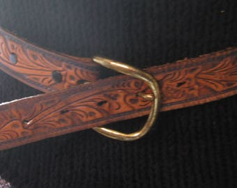 Small Tooled Leather Belt