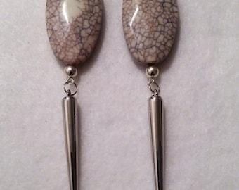 Grey Spike Earrings
