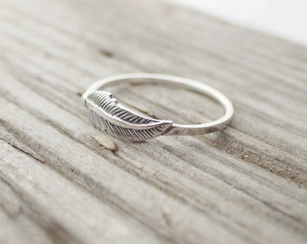 925 Sterling Silver Feather Boho Native American Ring