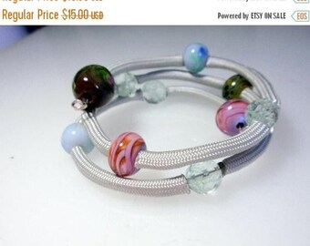 Half Price One week sale On sale -30% Parachute Cord and Glass Bead Bracelet