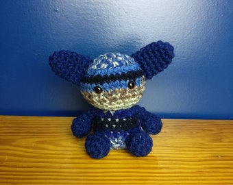Baby crochet critter - blues and browns.