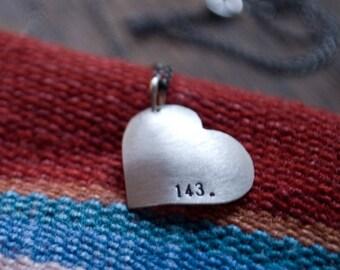 Heart Shape: 143 (I Love You) - necklace