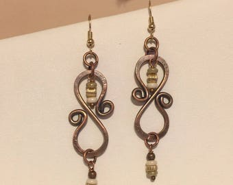 Copper and gold filled earrings