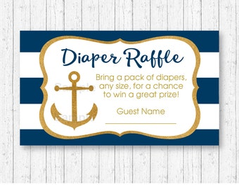 Nautical Diaper Raffle Tickets / Nautical Baby Shower / Anchor Baby Shower / Gold Glitter / Baby Boy / INSTANT DOWNLOAD A224