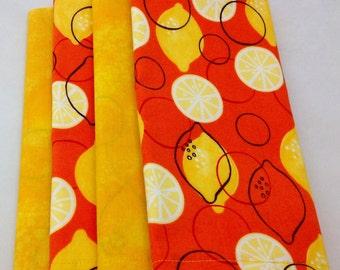 SALE Lemons with orange design 4 double-sided cloth napkins  FREE Napkin Rings Lemons design on front, complimentary print on back. Set of 4
