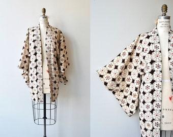 Shokubutsu-gaku silk haori | vintage 1950s kimono jacket | silk floral 50s short kimono