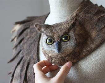 Good Owl stole - felted wool animal scarf