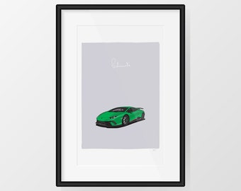 Lamborghini Huracán Performante - Green Print Illustration