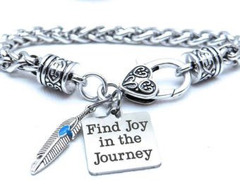 Find Joy in the Journey Bracelet, Feather Bracelet, Gift for Her, Inspirational Bracelet