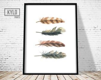 Feather Art Print, Watercolour Feather Print, Wall Art Print, Minimalist feather print, Feather print, Watercolour print, Home Print, Modern