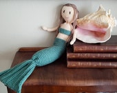 Mermaid doll, girly knitting patterns, girl room decor, knitted soft toys.  Knitting pattern. Instant download PDF.