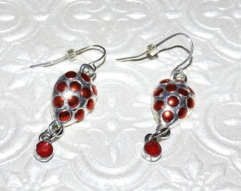 Metallic Ruby Crystals Mosaic Earrings