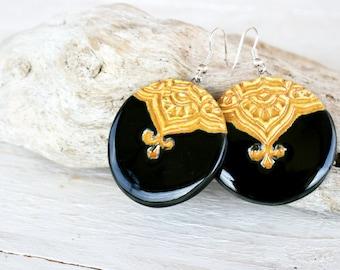 Ceramic earrings, Black and yellow, Ornament earrings, Trending jewellery, Natural earrings, Handmade clay earrings, Round earrings