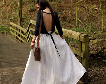 Wide Linen Skirt, Ivory White Skirt, Handmade, Natural Fabric, Casual Clothing, Sustainable fashion, Boho, Perfect Gift,  beach, hippie