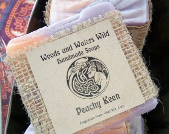 Peachy Keen UNSCENTED fragrance-free soap | Handmade Soap | Natural Vegan Soap