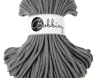 Gray macrame cotton cord - Bobbiny - 54 yards (50 meters), 0.2'' (5mm) thick
