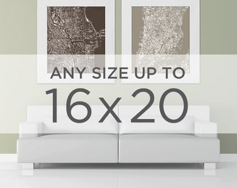"16x20"" Cityscape Map Poster: Choose your City"