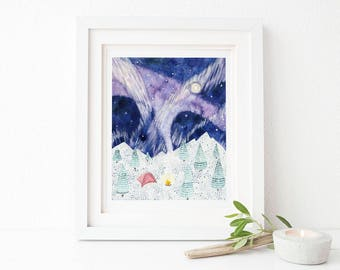 Camping Art Print / Winter Camping / Watercolor Art Print / Art Print / Watercolor / Hiking Gifts / Hiking Art Print / Pacific Northwest Art