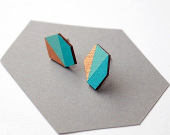 Geometric faceted diamond geo shape stud earrings - turquoise blue, water blue, gold - minimalist, modern hand painted wooden jewelry