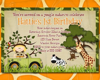 Zoo birthday invite, zoo party, Jungle invite,  Safari birthday party, Zoo Birthday Invitation, zoo animal birthday, jungle-Digital File