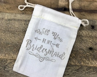 Will You Be My Bridesmaid Hand-Stamped Cotton Bag Pouch