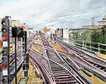 ORIGINAL watercolor and Pen and Ink painting TRAINS - Train yard in New York