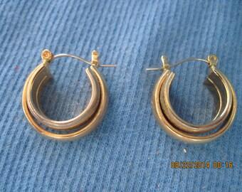 Vintage ROMANTIC Gold Art Deco Hoop Lock Down Stud Earrings....#7472