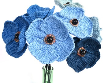 blue flowers bouquet,  crochet bouquet, blue poppies bouquet, unusual bouquet,  statement home decor, blue poppies flower arrangement