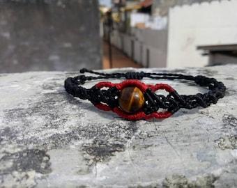 Black Macrame bracelet with tiger eye