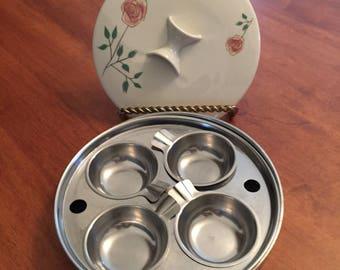 Vintage 1950's Egg Poacher Cottage Rose Design Ceramic Lid Revere Ware Stainless Steel Insert Priscilla Ware Pan USA Cottage Charm Cookware