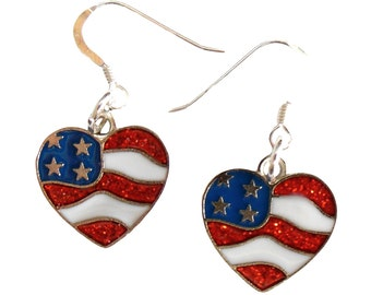 Patriotic Earrings, 4th of July Earrings, Patriotic Jewelry, Flag Earrings, USA Earrings, Stars and Stripes Earrings