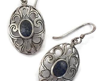 Filigree Drop Earrings Oval Blue Dangle Earrings Silver Stone Drops Wires