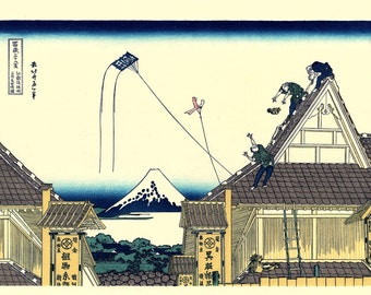 "Japanese Ukiyo-e Woodblock print, Katsushika Hokusai, ""A sketch of the Mitsui shop in Suruga in Edo, Thirty-six Views of Mount Fuji"""