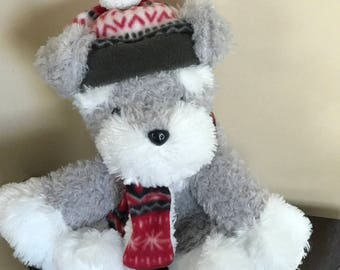 "Grey & White* Wearing His Colorful Hat And Scarf *HUGABLE "" Hug - Fun"" International Snuggle Bunny*"