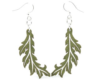 Flowing Leaf - Earrings laser Cut from Sustainable Wood Source