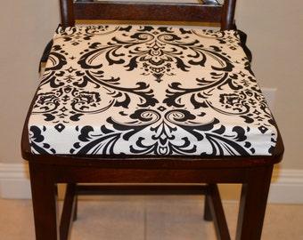 Ticking Fabric chair cushion Rustic Tie Back Chair Cushion
