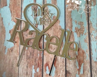 "Cake Topper | Custom | Party Event  | Wedding  | Personalised | Engagement  | Birthday | Bridal Shower | Wooden Cake Topper-""Mr & Mrs Heart"""