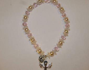 Cross necklace Swarovski pearl beads little baby girls