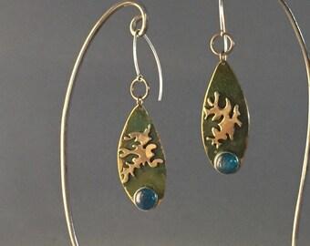 Alá Matisse Earrings with Apatite Gemstones and Sterling Silver rings & sterling earwires