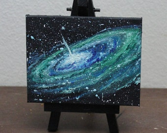 "Original Mini Painting - (3x4"") Space Spiral Galaxy Stars Starry - Oil Painting on Easel"