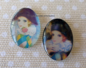 LOT 2 Pierrot Harlequin 25x18mm glass cabochon beads